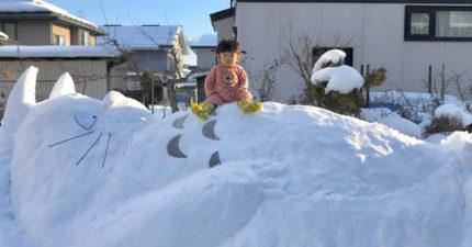 小女孩意外堆出「1:1龍貓雪球」 趴在作品上竟讓「動畫構圖」神還原!
