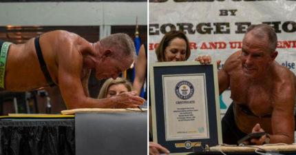 影/62歲老伯「平板撐8小時」破世界記錄 曝光「地獄式訓練」挑戰人體極限!
