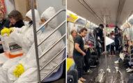 影/無腦男地鐵上演「武肺惡作劇」 下一秒把「病毒潑出去」乘客超傻眼!