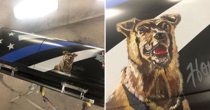 警犬追捕重犯「不幸身亡」!警局打造牠的「專屬棺木」致敬:好好安息