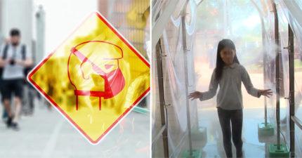 開學日里長自製「人體洗車場」防武肺!走過「霧氣消毒」就能安心上課