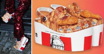 肯德基跨界合作「Crocs桶餐鞋」超辣眼 「立體炸雞腿」網笑翻:時尚好難!