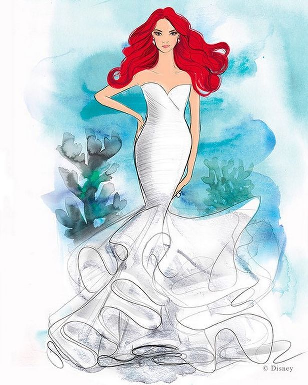 迪士尼聯名「公主婚紗」手稿曝光 限量「浮誇大魚尾」超夢幻!