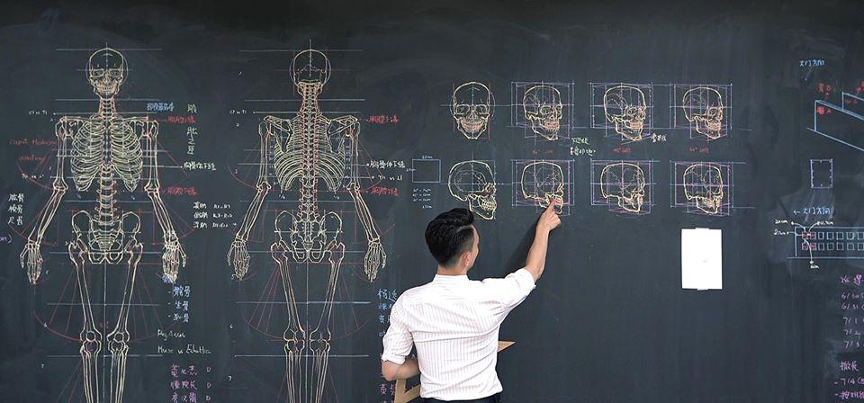 板書超強!台老師教科書級「人體解剖」全手繪 「高顏值」紅到國外:醫學院課程?