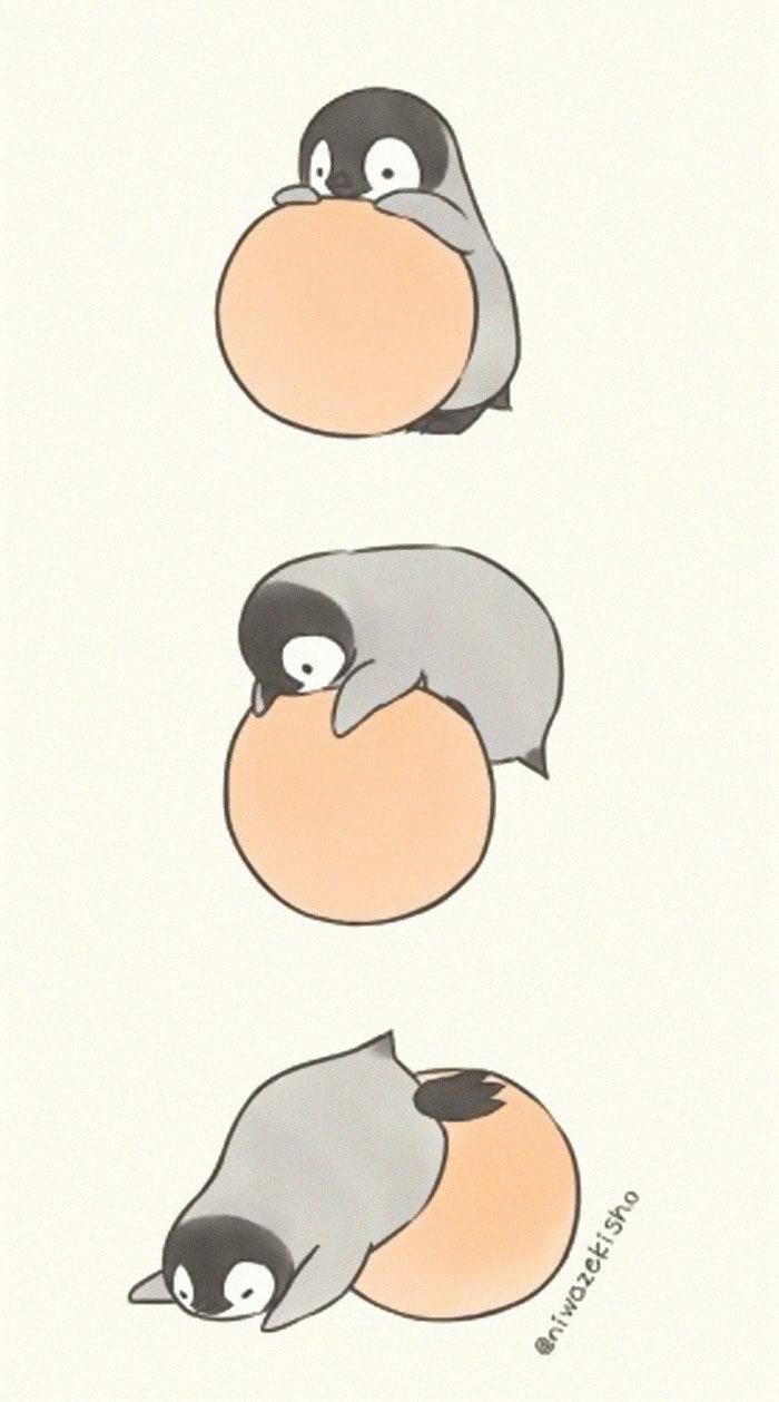 30張比企鵝家族還可愛的「企鵝日常」插畫 跳繩永遠只能跳1下!