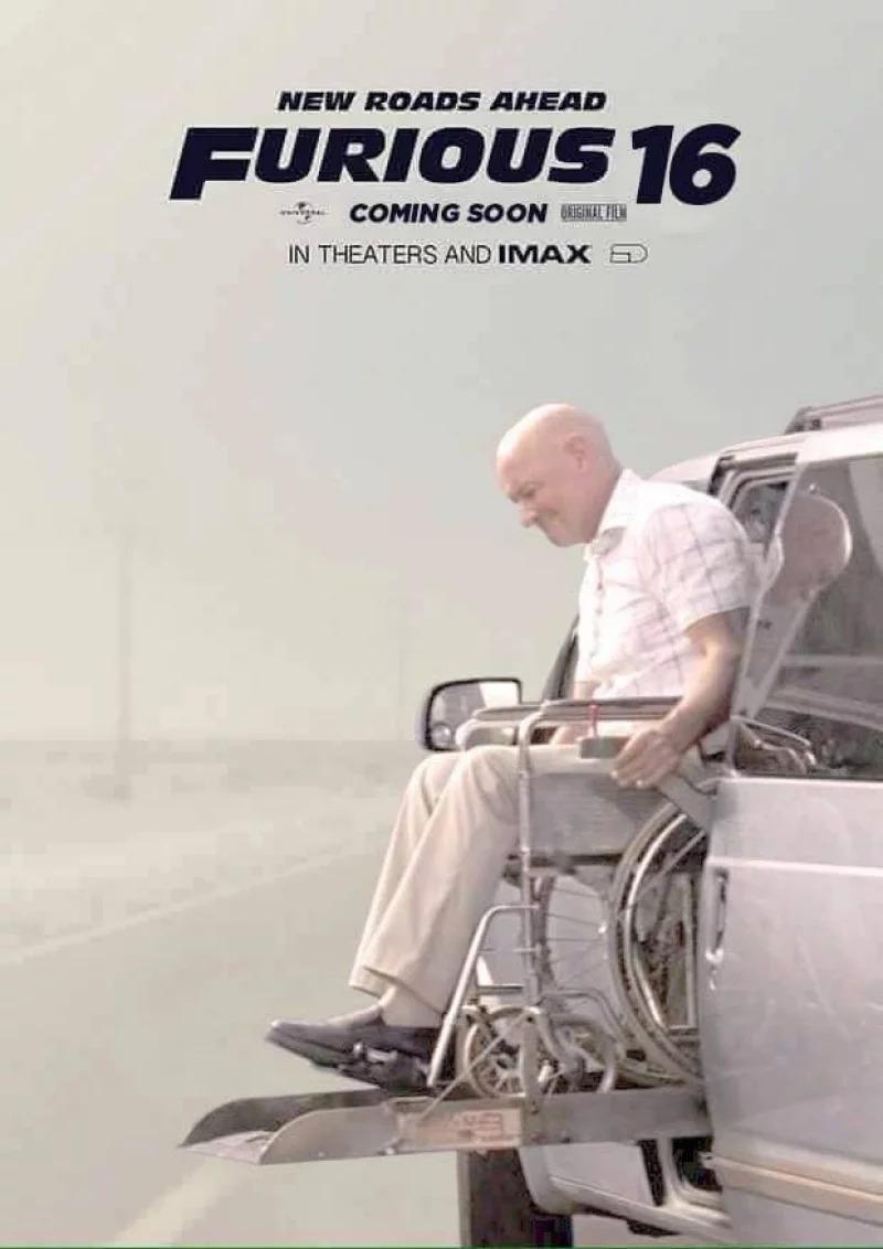 粉絲自製《玩命關頭50》劇照 「唐老大→唐老頭」坐輪椅也要狂飆!