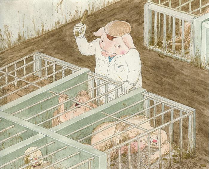 藝術家畫出「動物取代人類」後的世界 白老鼠「拿人作實驗」太諷刺
