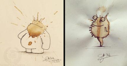 藝術家把「咖啡污漬→妖怪插畫」 簡單線條畫出「超強生命力」被讚翻!