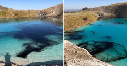防群聚感染!網美景點「夢幻藍湖泊」被警察倒墨染黑:太多人硬要來玩