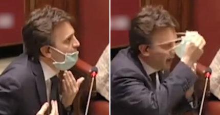 影/義大利議員「戴口罩出席國會」卻被嘲笑 他霸氣反擊「去過3個疫區」:確定不戴?