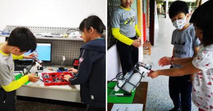 高雄小學生打造「酒精消毒機器人」紅到國外 成品竟是靠「玩具改造」!