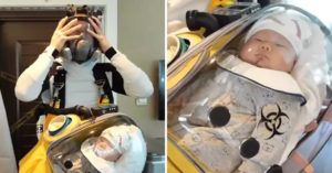 創意爸幫寶寶打造「防疫太空裝」抗武肺 靈感全來自《死亡擱淺》!
