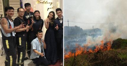 消防員吃喜酒「第一道菜剛上」警鈴大響 全員起身「背裝備」出動救火!