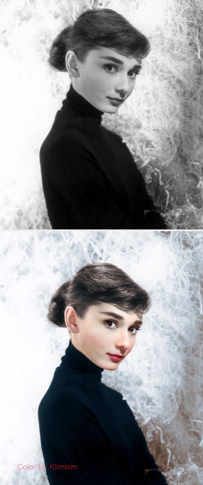 藝術家把「好萊塢黃金年代明星」變成彩色 奧黛麗赫本樹林回眸太仙❤