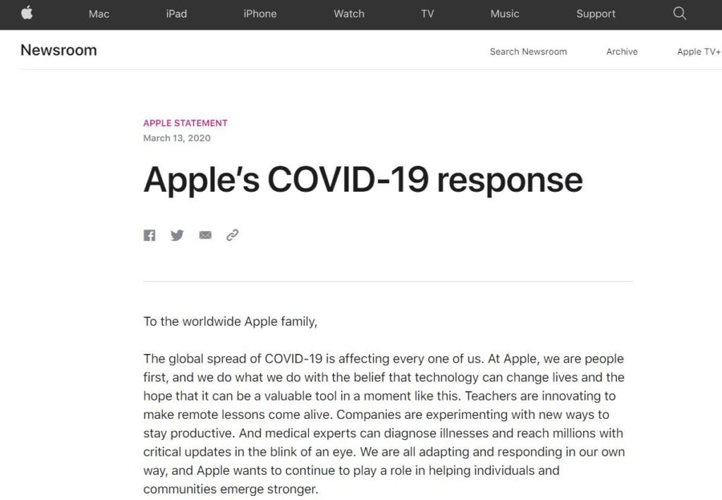 蘋果宣佈「關閉全球蘋果店面」直到3月底 公開「例外地區」台灣竟在內