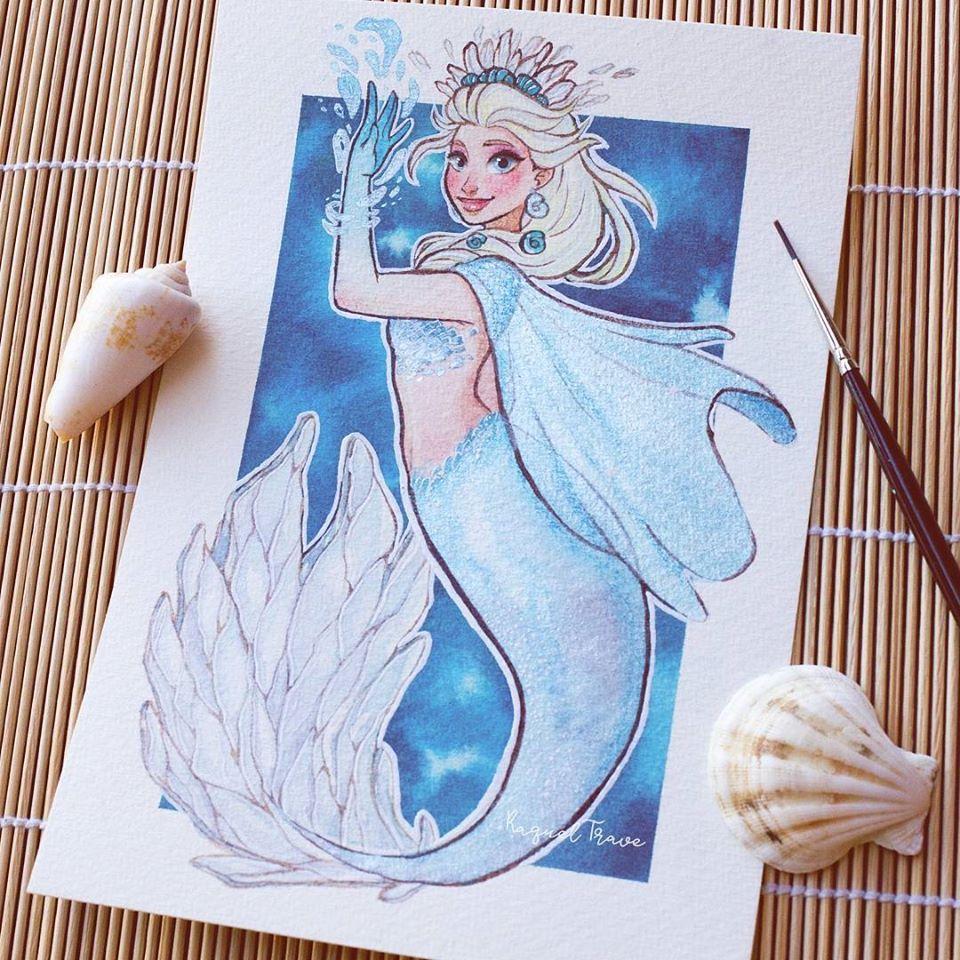 她把迪士尼公主「全部變成美人魚」 愛麗兒改造後讓人超失望!