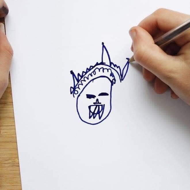 超暖老爸把兒子的塗鴉「實體3D化」 英國女王變「爆牙女妖」超獵奇!
