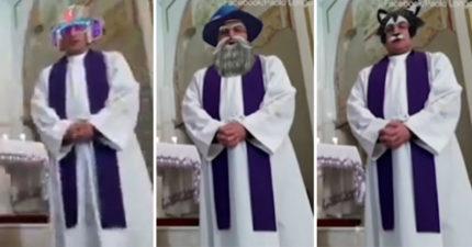 神父直播彌撒「誤開臉部濾鏡」 網美級變臉「50分鐘」他無奈:大家有笑就好
