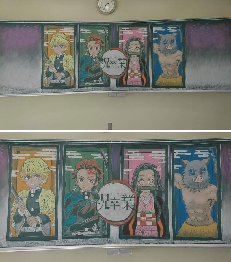 日本老師「超狂黑板畫」爆紅 畫出「高清版《天氣之子》」的竟是數學老師!