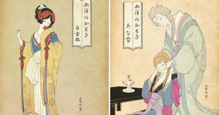 他畫出日式和風「浮世繪迪士尼公主」 雪寶「超便秘表情」讓人忍不住笑了