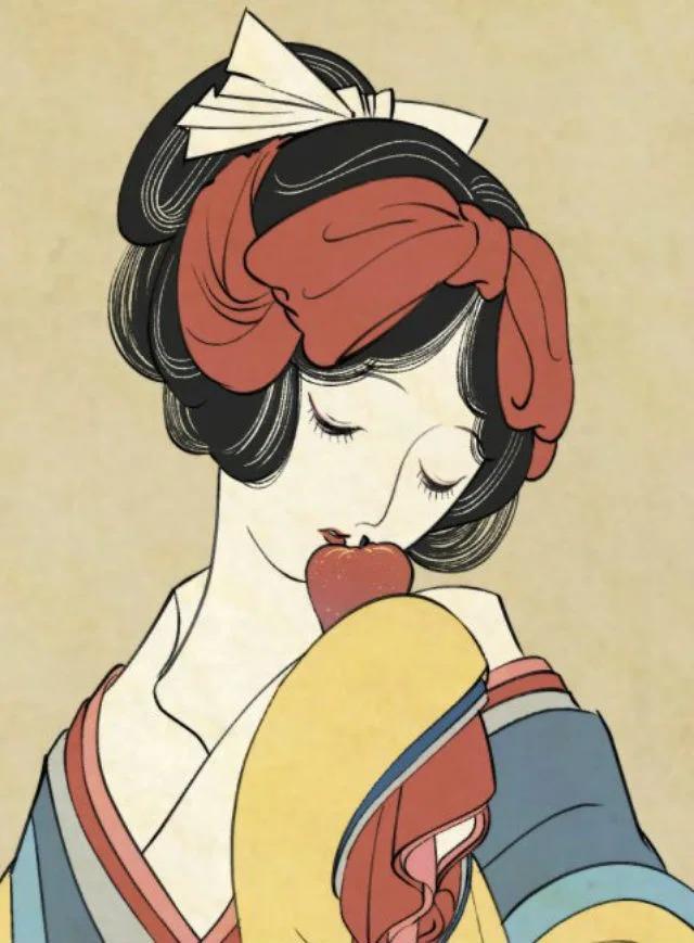 如果迪士尼公主都是「浮世繪」 雪寶「超便秘表情」太爆笑