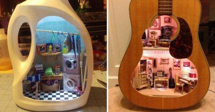藝術家做出「指尖專用的」日常物品微縮版 吉他割開是芭比的豪宅!
