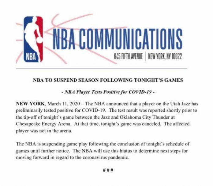 NBA球星刻意「摸無消毒麥克風」隔天確診武漢肺炎 官方宣布:無限期停賽!