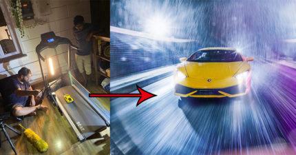 攝影師用「跑步機」拍出「跑車賽道狂飆」 藍寶堅尼絕對超後悔!