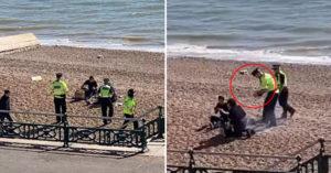 民眾隔離時期堅持「到海邊開烤肉趴」 警察「用頭盔裝水」澆熄:滾回家!
