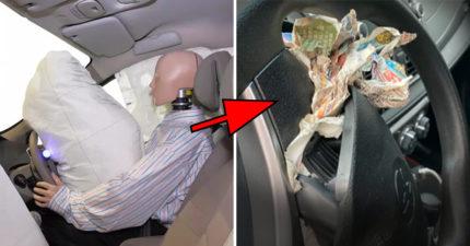 安全氣囊爆開「全是舊報紙」 倒楣車主被撞到「腦溢血」送醫