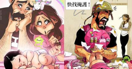 漫畫生動還原「新手爸媽」戰後創傷!「嘔吐攻擊」絕對避不掉