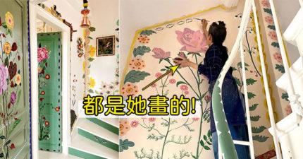 藝術家把「空白別墅→刺繡小屋」 整棟「全手繪」連門框都不放過!