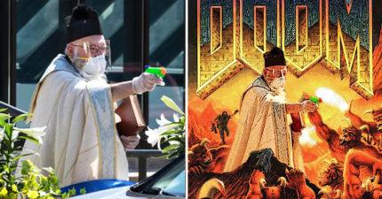 神父遵守社交距離「用水槍狂射聖水」 網掀「改圖大戰」他樂歪