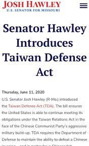 美參議員推動《台灣防衛法》草案 阻止中國「武統台灣」!