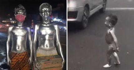印尼暴增「銀色小人」!2歲童「包尿布塗銀漆」車陣中乞討