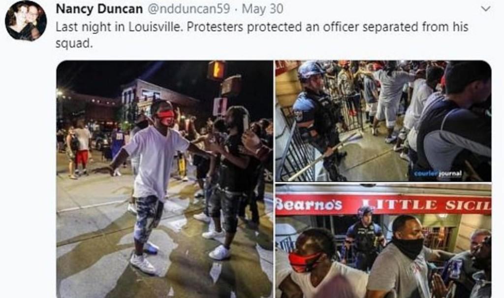 白人警在示威活動「不幸落單」 黑人民眾「圍成人牆」保護他