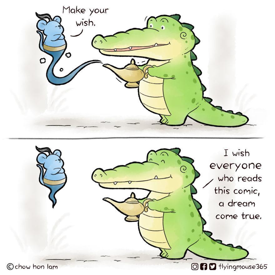 13張「扭轉鱷魚形象」的超療癒漫畫  用嘴巴讓朋友「搭便車」