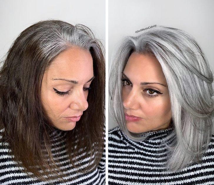 19張設計師大膽把媽媽「僅剩的黑髮全染白」反而變更美