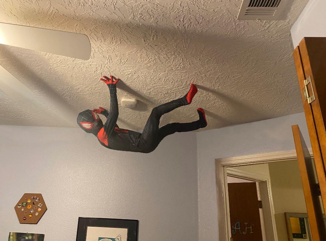 男孩變身「蜘蛛人」爬天花板 真相曝光:暖爸動的手腳!