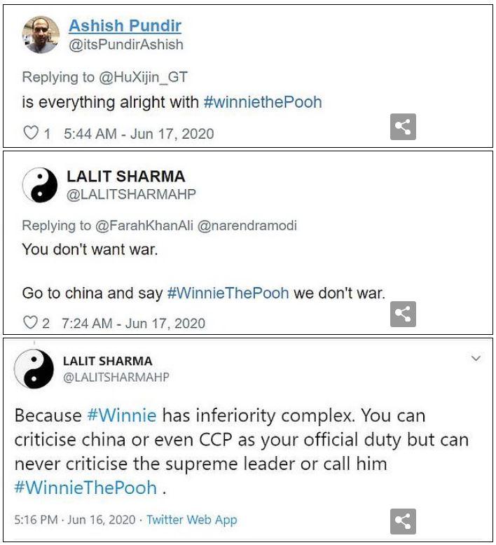 印度網友發現「習近平最討厭的東西」一日暴增百篇「習維尼」挑釁