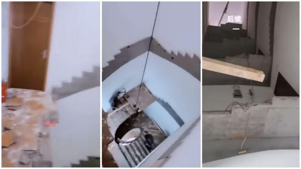5樓住戶趕上班卻發現「門口變懸崖」回家得自己爬梯子