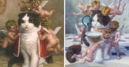 藝術家把「貓咪放進油畫」美到想改寫歷史 貓皇連天使都統治了