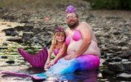 女孩生日唯一願望「爸爸陪扮美人魚」 硬漢爸嬌羞甩水圓夢❤