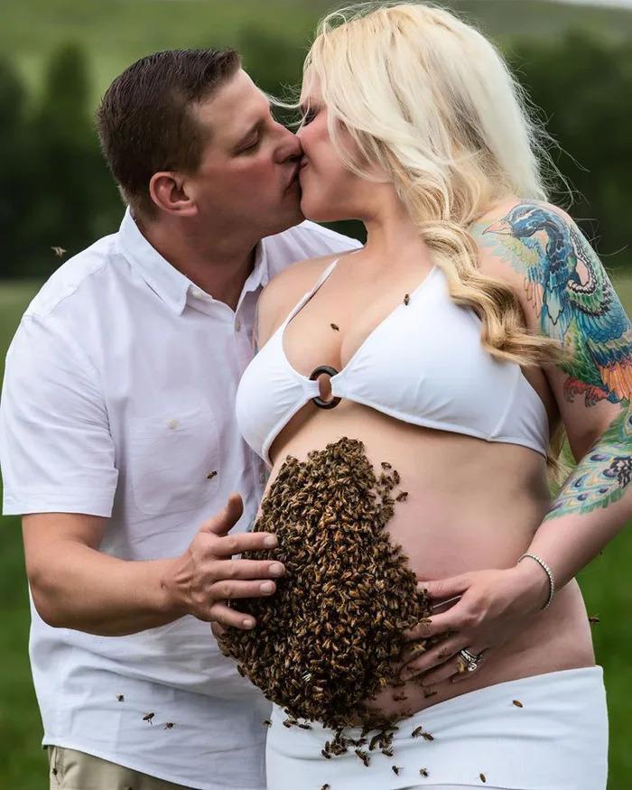 孕婦冒險讓「整窩蜜蜂」包圍肚皮 背後「心酸故事」超洋蔥