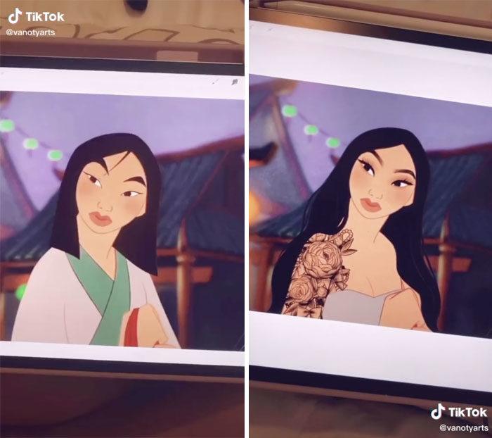 如果迪士尼公主「活在現代」長怎樣?花木蘭「包半甲」辣到不行