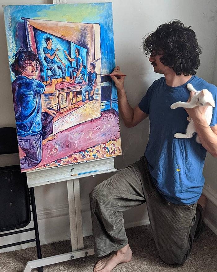 油畫版《全面啟動》!藝術家把自己「無限植入」異世界 貓咪也遭殃