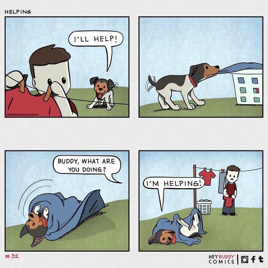 13張「有養狗就秒懂」溫馨插畫 毛孩也會準備情人節禮物❤