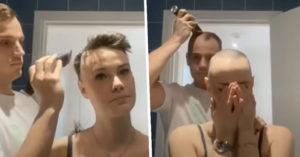 影/女友患「禿頭症」!暖男把自己頭髮「一起剃光」感動網友