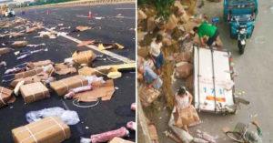 中國豬肉貨車翻覆「村民變山賊」搶走7噸肉 連車門都不放過!