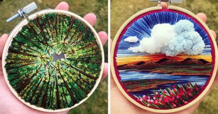 藝術家在手掌上「繡出任意門」 用指尖就能「環遊全世界」!